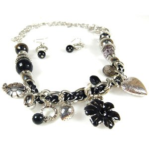Black and silver heart & flower necklace & earring set