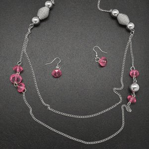 Pink and silver necklace & earring set