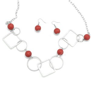 Red and silver necklace & earring set!!