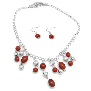 Red necklace & earring set!!