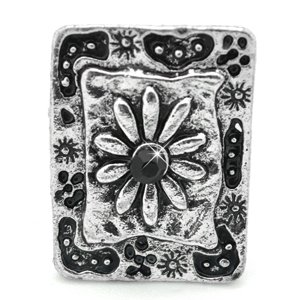 Black and silver square flower ring
