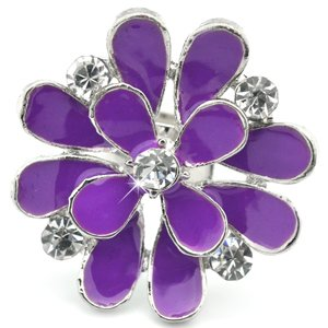 Purple and silver flower ring