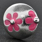 Pink and silver circle flower ring