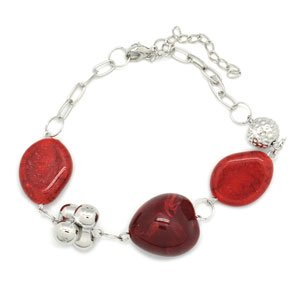 Silver with red stones bracelet