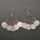 Pink hanging disc earrings