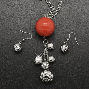 Orange ball necklace and earring set