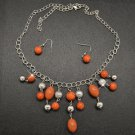 Orange and silver necklace & earring set