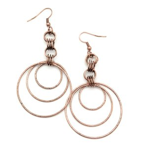 Circle copper earrings