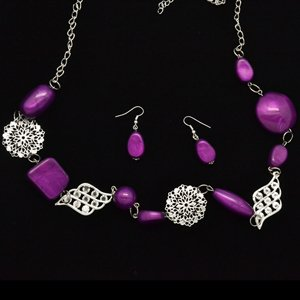 Purple long necklace and earring set