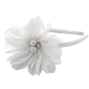 White flower on white headband