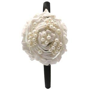 Ivory flower on black headband