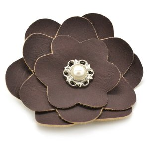 Brown faux leather flower hair clip