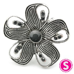 Black and silver stretchy ring