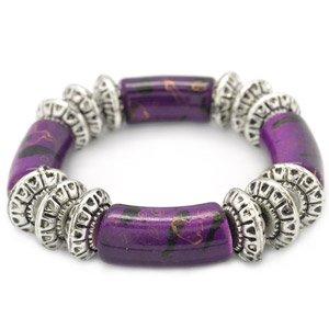 purple and silver stretchy bracelet