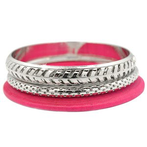 Pink and silver bangle bracelet