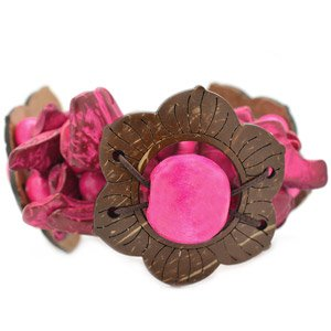 Pink with brown wooden flower stretchy bracelet