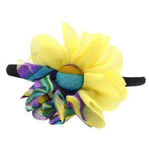 Yellow and multicolor flower headband