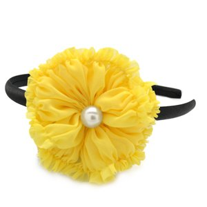 Yellow flower headband with pearl center