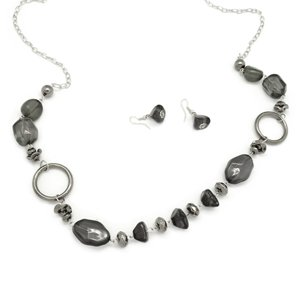 Black and dark silver necklace and earring set