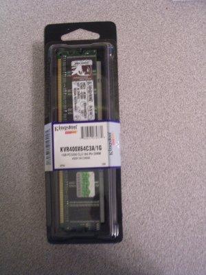 Kingston 1GB DDR 400MHz. PC3200 (KVR400X64C3A/1G) Memory