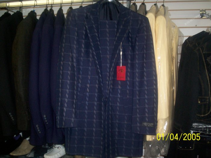 Navy Blue Il Canto Suit with dashed Squares