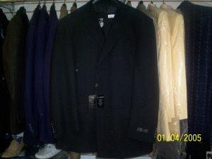 Black on black slanted stripe suit with vest