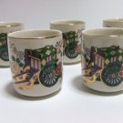 VINTAGE KUTANI  PORCELAIN HAND PAINTED SAKE CUP SET OF 5 PCS HAND PAINTED FL