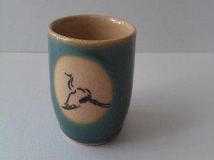 CRANE JAPANESE VINTAGE PORCELAIN HAND PAINTED TEA CUP BEAUTIFUL COLOR