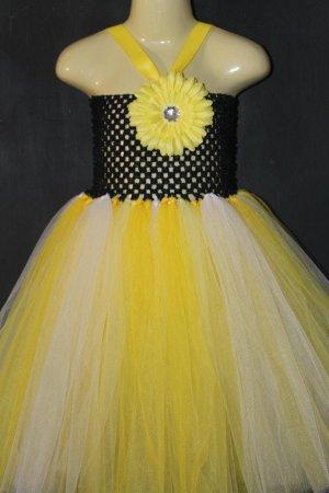 Yellow White Black Baby Girls Crochet Top Tutu Dress Knee Length