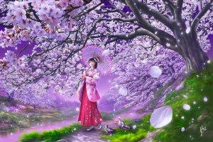 Japan Jigsaw Puzzle - Cherry breezes by Fantasy artist by Shu Mizoguchi Shipping Worldwide