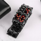 JAPANESE IRON SAMURAI Faceless black/red Modern LED watch,day /date, quartz