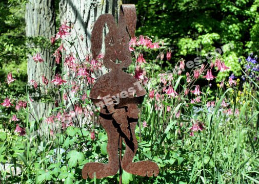 Rusted Garden Rabbit And Pink Columbines Digital Flower Photo 5x7
