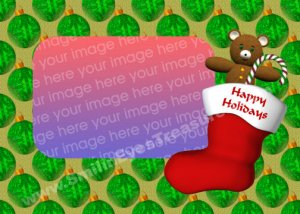Christmas Stocking With Bear Digital File Photo Template Frame