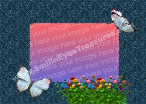 Butterflies And Flowers Digital File Photo Template Frame 5x7