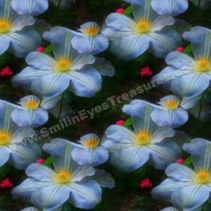 White Clematis Art Tiled Pattern Floral Background Digital File
