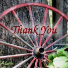 Old Red Wagon Wheel Printable Thank You Card