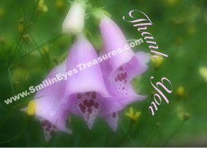 Soft Pink Foxglove Flowers Printable Thank You Card