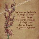 Serenity Prayer Flowering Tree Inspirational Printable Digital File Card