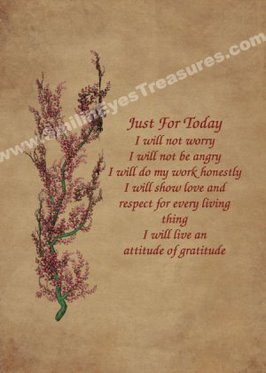 Just For Today Flowering Tree Inspirational Printable Digital File Card