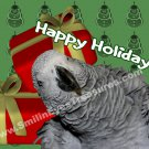 African Gray Parrot Animal Printable Christmas Holiday Card