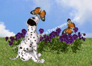 Dalmatian Puppy And Butterflies Digital Printable Animal Photo 5x7
