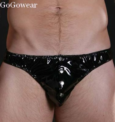 Mens Sexy shiny black Vinyl look Button Thong Size M-L (3029)                    Free Shipping!