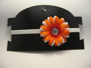 Orange and White Flower Headband