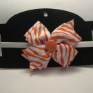 White and Orange Bow Sparkly Headband