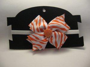 White and Orange Bow Sparkly Headband