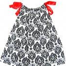 DAMANSK BLK/WHT RED RIBBON Handmade Infant/Toddler Dress/Blouse 24MO-2T