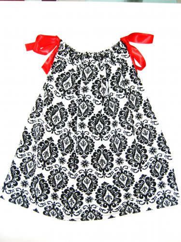 DAMANSK BLK/WHT RED RIBBON Handmade Infant/Toddler Dress/Blouse 24MO-2T