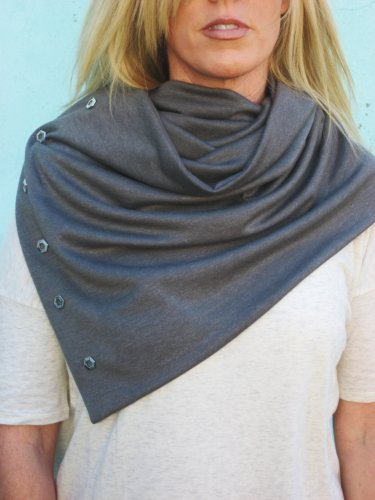 SOLD OUT- Multiplicity Snap Scarf- Grey with Circle Silver Snap