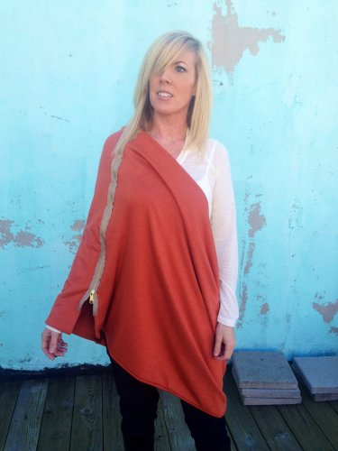 SOLD OUT Multiplicity Zipper Scarf- Burnt Orange with Tan/Gold Zipper