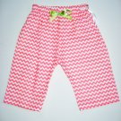 CORAL CHEVRON GRN RIBBON Handmade Infant/Toddler Pants 6-12MO